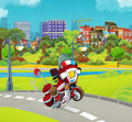 Cartoon stage with emergency vehicle - fire fighter motorbike - colorful and cheerful scene