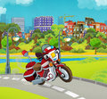 Cartoon stage with emergency vehicle fire fighter motorbike colorful and cheerful scene