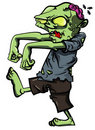 Cartoon stalking zombie with brain exposed Royalty Free Stock Photo