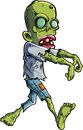 Cartoon stalking zombie writ ripped clothes isolated on white Stock Photo