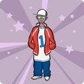 Cartoon standing hip-hop style teenager