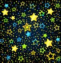 Cartoon star colored background kid style vector font with stars Stock Photography