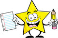 Cartoon star holding a pencil and paper Royalty Free Stock Photo