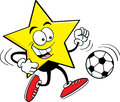 Cartoon star playing soccer