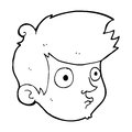 Cartoon staring boy black and white line in retro style vector available Royalty Free Stock Image