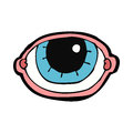Cartoon staring eye hand drawn illustration in retro style vector available Stock Photography