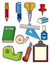 Cartoon stationery icon set Stock Photography