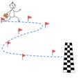 Cartoon Stick Man Running Towa...