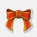 stock image of  Cartoon sticker with bow-knot of ribbon in comic style
