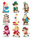 Cartoon story people icon set Royalty Free Stock Photography