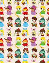 Cartoon story people seamless pattern Stock Photography