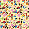 Cartoon story people seamless pattern Royalty Free Stock Images