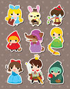 Cartoon story people stickers Stock Photos