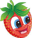 Cartoon strawberry cute fruit character with happy smile for flavored fruit candy or drink Stock Photography