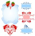 Cartoon strawberry and frames Royalty Free Stock Photo