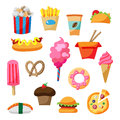 Cartoon Street Food Icon Illus...