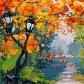 Cartoon street lights in the autumn park Royalty Free Stock Photo