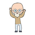 Cartoon stressed bald man hand drawn illustration in retro style vector available Royalty Free Stock Image
