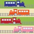 Cartoon stripy seamless pattern with colorful trains Stock Photos