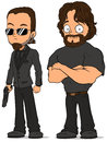 Cartoon strong secret agent characters set