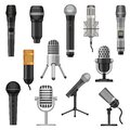 Cartoon studio microphones. Broadcast, voice and music audio recording equipment. Karaoke mic and vintage radio Royalty Free Stock Photo