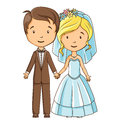 Cartoon style bride and groom holding hands Royalty Free Stock Image