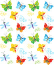 Cartoon Style Butterfly And Dragonfly Pattern. Colorful Butterflies In Vector. Nice Childish Background. Royalty Free Stock Photo