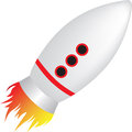Cartoon style childrens rocket toy illustration of a simple on white background Stock Photography