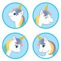 Cartoon Style Cute Unicorn Circle Design Set. Vector Illustration Isolated on White Background. Fantasy White Animal Vector Head w Royalty Free Stock Photo