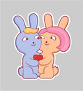 Cartoon style love sticker