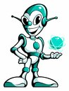 Cartoon style robot, android with the energy ball in his hand, vector cartoon character.