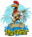Cartoon style rooster playing guitar with palms on background, vector illustration.