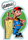 Cartoon style worker in overalls, with comic book text frame