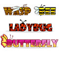 Cartoon stylised text insects. Name bee, Butterfly and ladybug