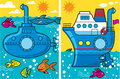 Cartoon submarine and ship Royalty Free Stock Photography