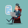 Cartoon Successful Businessman Flying in Airplane and Working with Laptop