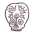 Cartoon sugar skull hand drawn illustration in retro style vector available Stock Photography
