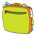 Cartoon suitcase full overweight luggage or overweighted Stock Images