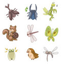 Cartoon summer animal icon Royalty Free Stock Photos