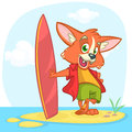 Cartoon summer holiday background with fox surfer. Vector illustration . Royalty Free Stock Photo