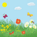 Cartoon summer landscape Royalty Free Stock Images