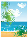 Cartoon summer sunny beach with Stock Images
