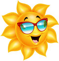 Cartoon sun character wearing sunglasses Royalty Free Stock Photo