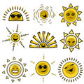 Cartoon sun designs Stock Photos