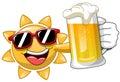 Cartoon Sun drinking Beer
