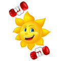 Cartoon sun with dumbbells isolated on white background Stock Images