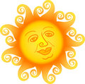 Cartoon Sun Face/ai Royalty Free Stock Photo