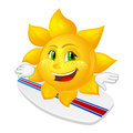 Cartoon sun with freckles on surfboard isolated white background Stock Photography