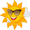 Cartoon sun giving thumb up Royalty Free Stock Photo