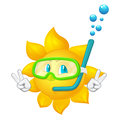 Cartoon sun with mask and snorkel isolated on white background Stock Photos